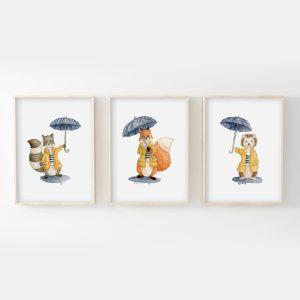 Sous la pluie – renard, raton-laveur, hérisson – Trio Aquarelles