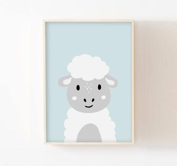 cadre mouton fond bleu
