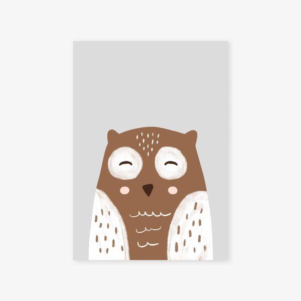 affiche hibou brun fond gris