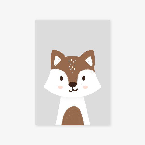 affiche loup brun fond gris