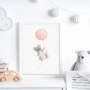 Souris et son ballon – Aquarelle individuelle