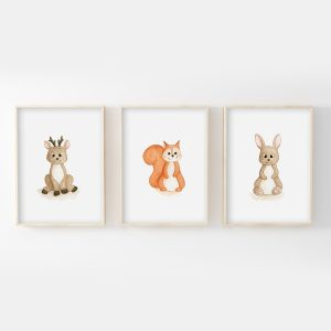 Animaux forêt – cerf, écureuil, lapin – Aquarelles