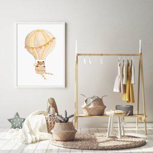 Renard dans sa montgolfière – Aquarelle individuelle