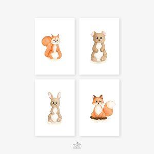 Animaux forêt – écureuil, ours, lapin, renard – Quatuor Aquarelles