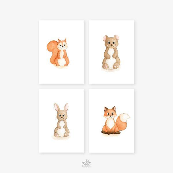 affiches écureuil ours lapin renard