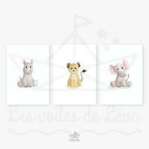 Animaux Savane – éléphant, lion, hippopotame – Trio Aquarelles