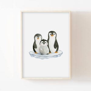 Pingouin Famille – Aquarelle individuelle