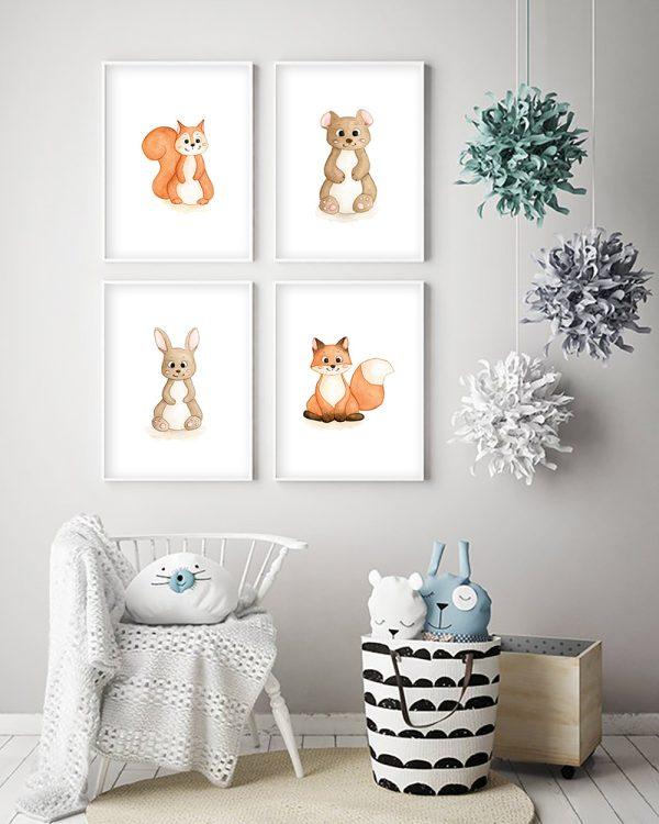 cadres écureuil ours lapin renard