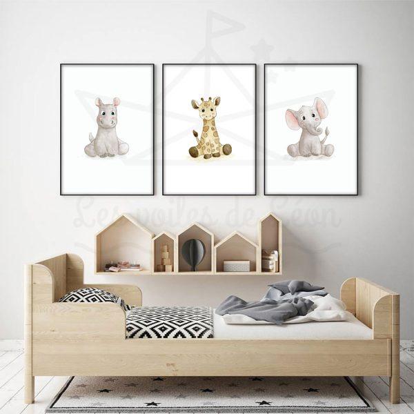 cadres trio hippo girafe éléphant