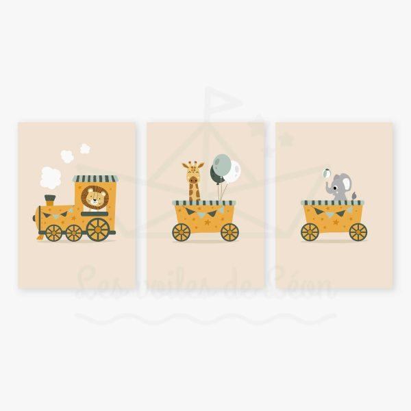affiches trio train orange vert