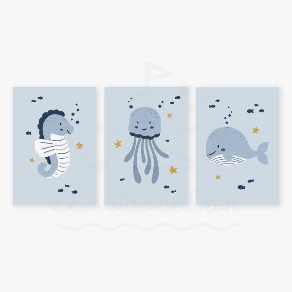 affiches hippocampe méduse baleine bleu jaune