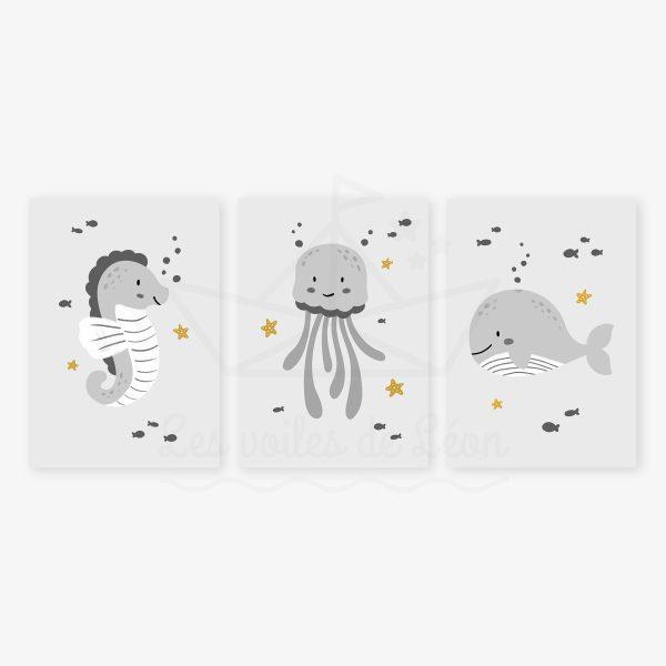 affiches hippocampe méduse baleine gris jaune