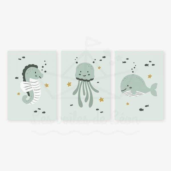 affiches hippocampe méduse baleine vert jaune