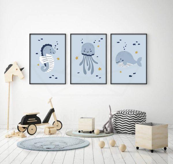cadres hippocampe meduse baleine