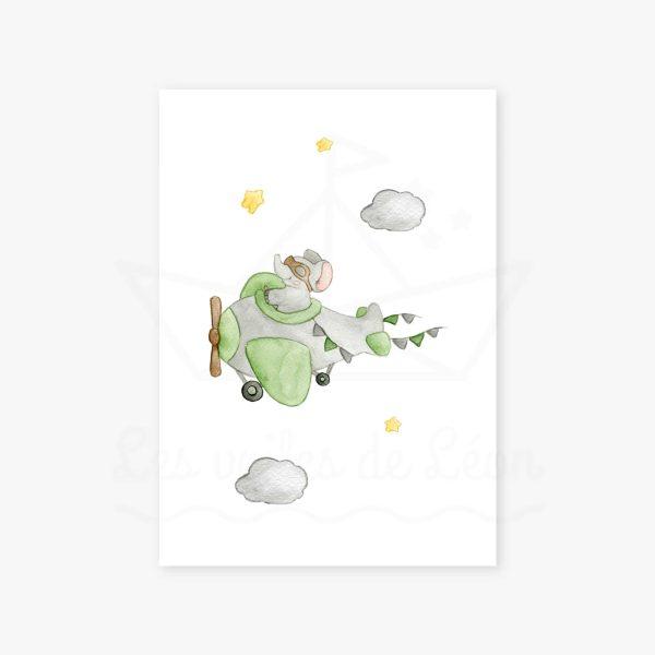 affiche éléphant avion étoiles vert