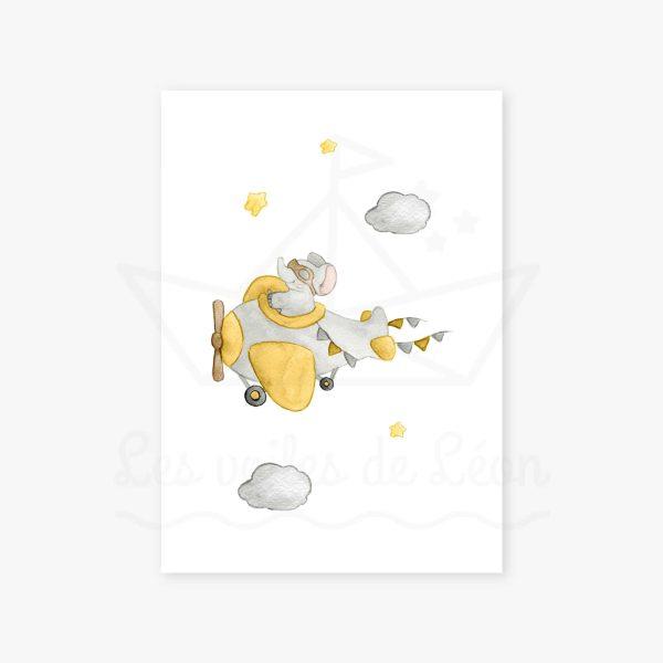affiche éléphant avion étoiles jaune