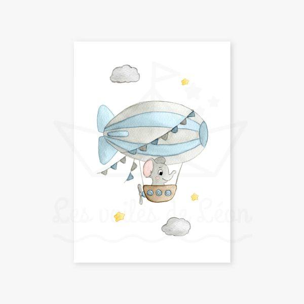 affiche éléphant dirigeable bleu
