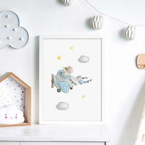 Éléphant Aviateur – Aquarelle individuelle