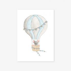 affiche souris montgolfière bleu gris