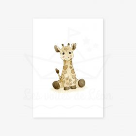 affiche murale savane girafe