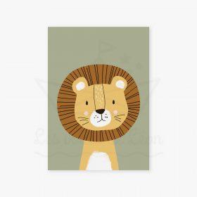 affiche lion sable vert